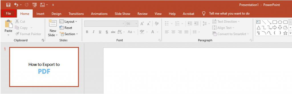 How to export to pdf in Powerpoint_1