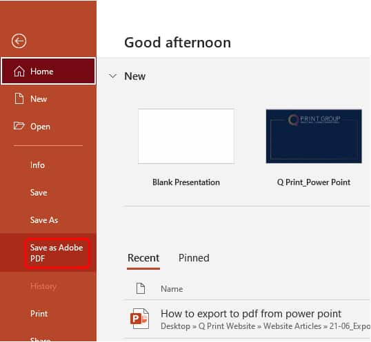 How to export to pdf in Powerpoint_2