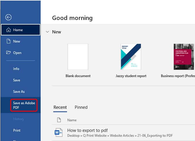 How to export to pdf in Word_2
