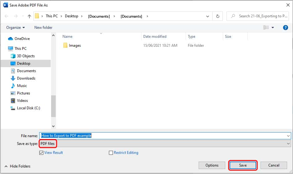 How to export to pdf in Word_3